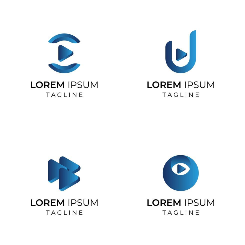blauwe kleurovergang pijl bedrijfslogo set vector