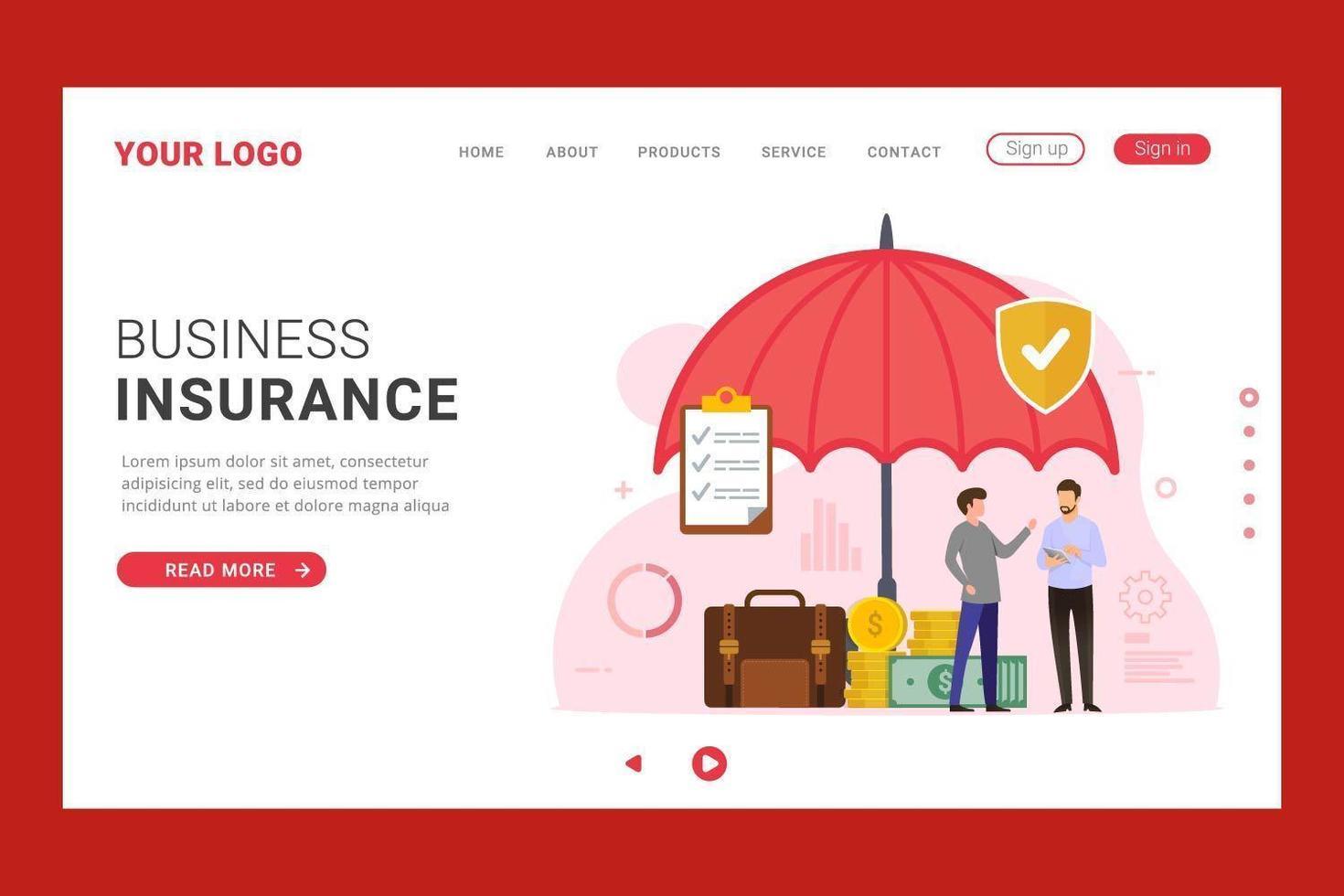 página de inicio de seguro comercial con protección de paraguas vector