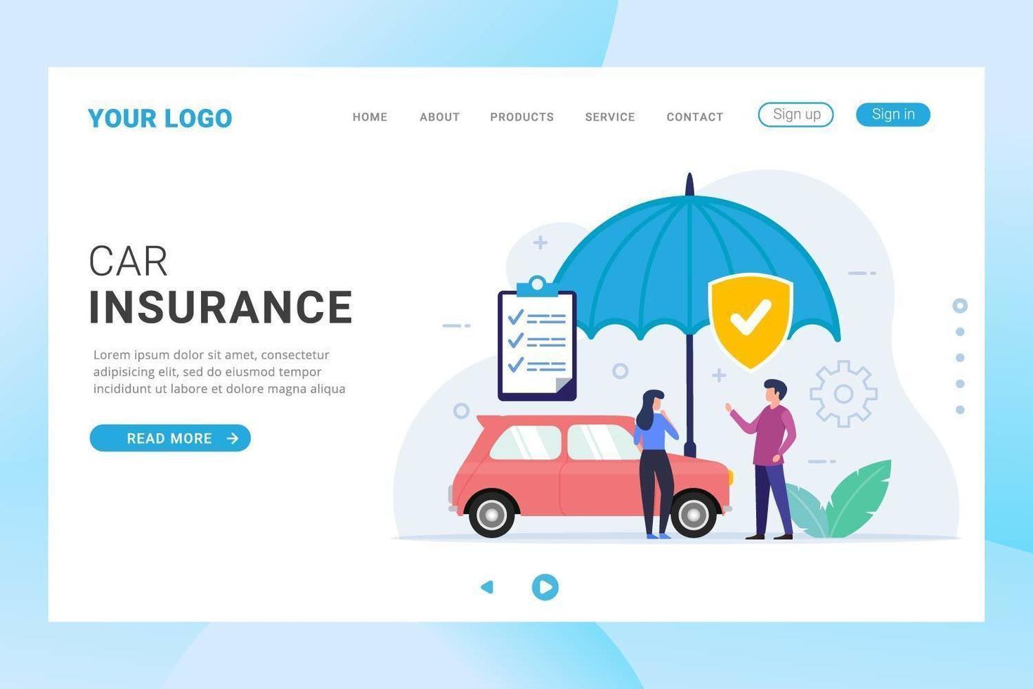página de inicio de seguro de automóvil con protección de paraguas vector