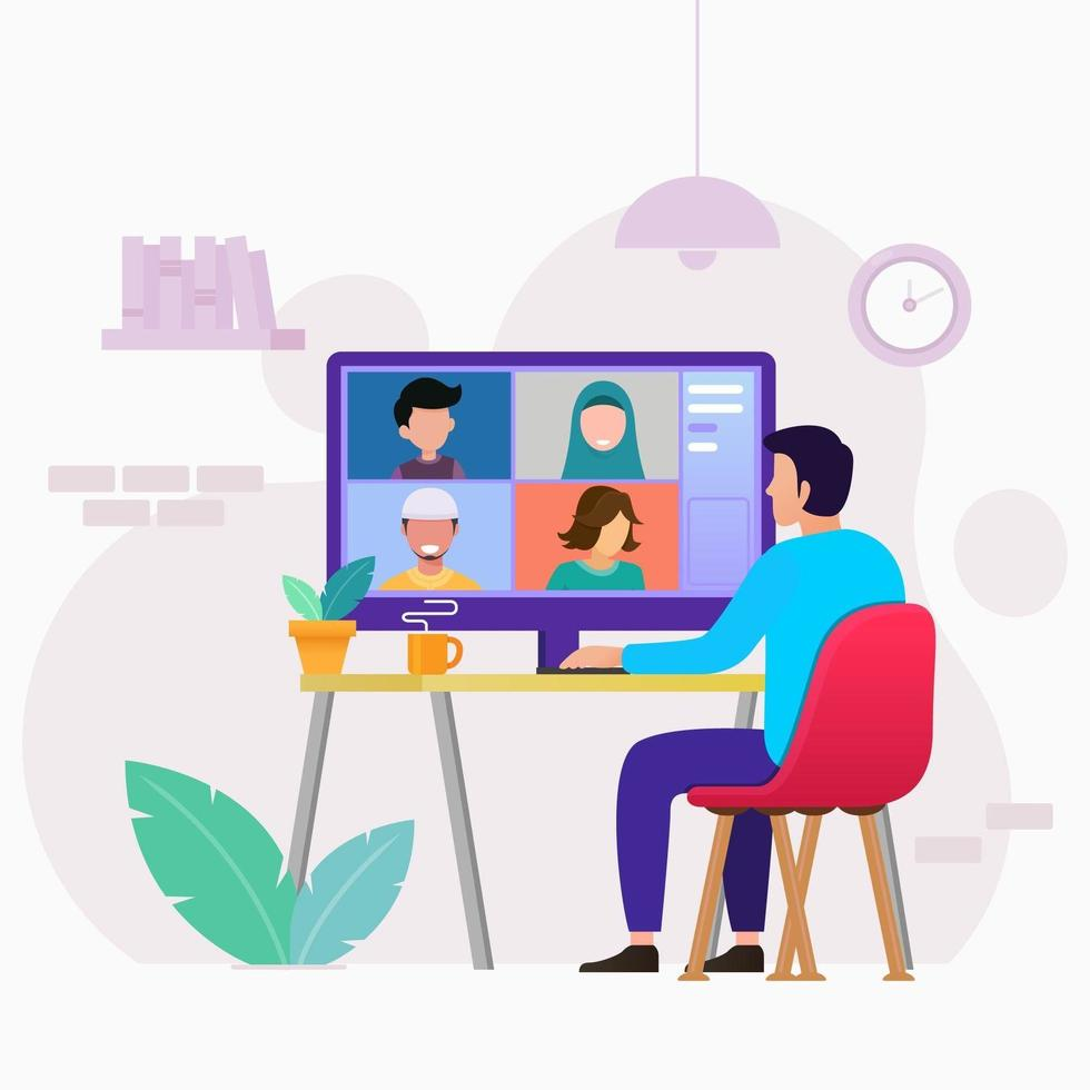 Online meeting work from home design vector