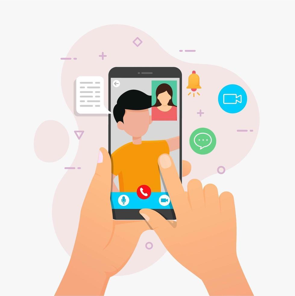 aplicación de video llamada en dispositivo móvil vector