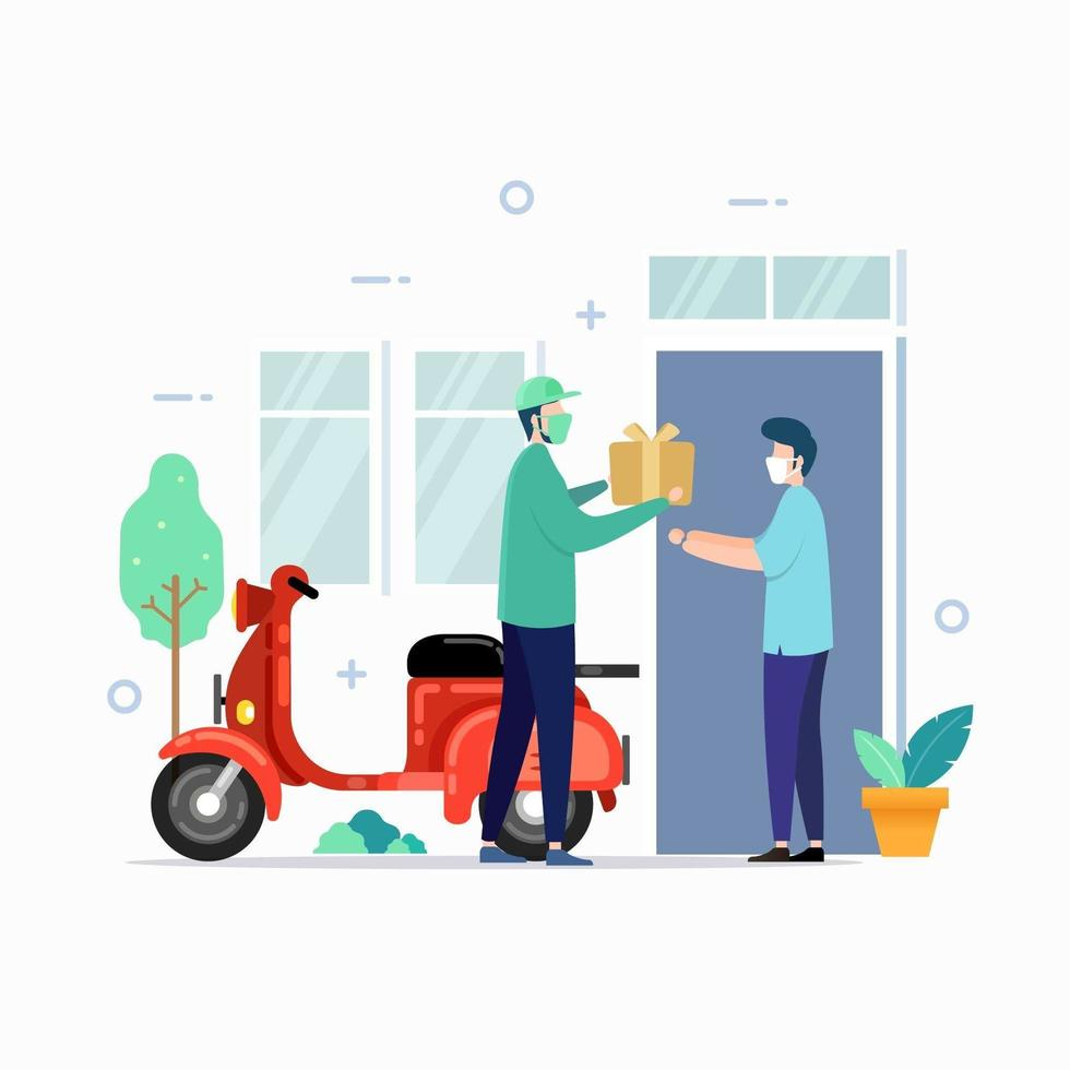 Delivery service with mask for safety vector