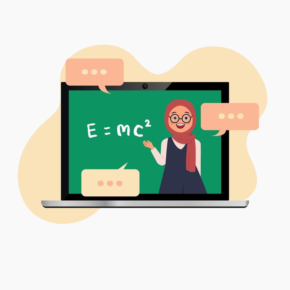 maestra hijab en laptop enseñando clase en línea vector