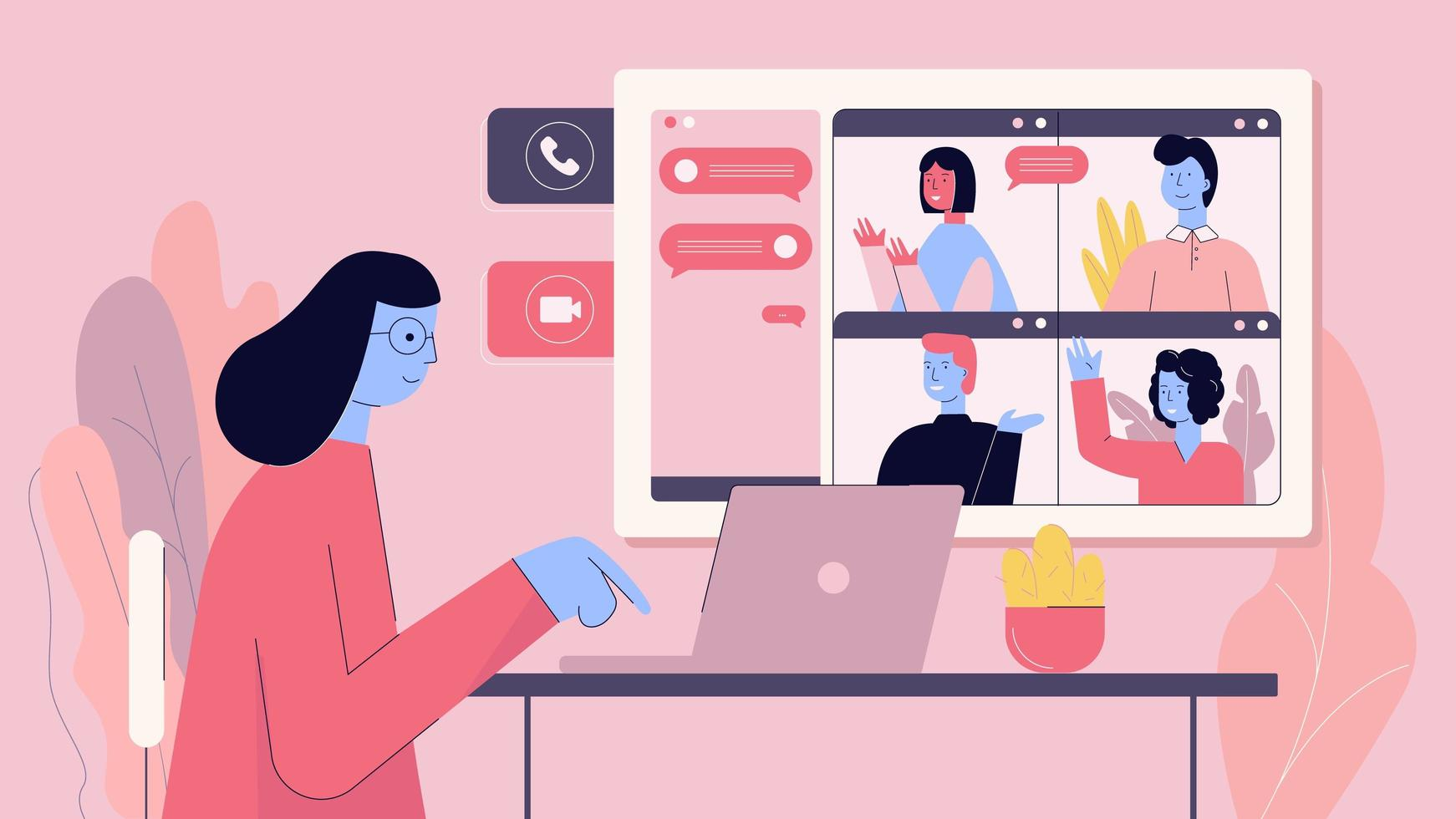 Frau, die mit Freunden oder Kollegen auf Videokonferenz verbindet vektor