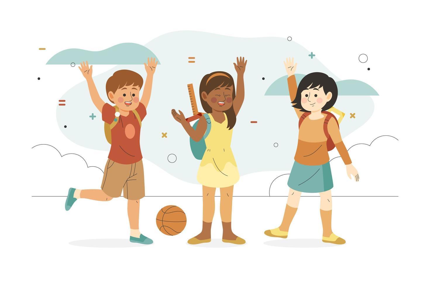 Kinder gehen mit erhobenen Händen zurück zur Schule vektor