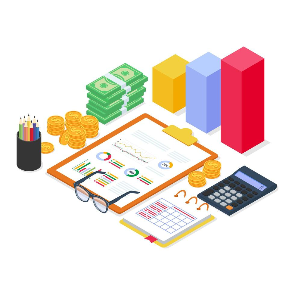 Análisis de equipos financieros con informe de diagrama y documento con estilo isométrico plano moderno. vector
