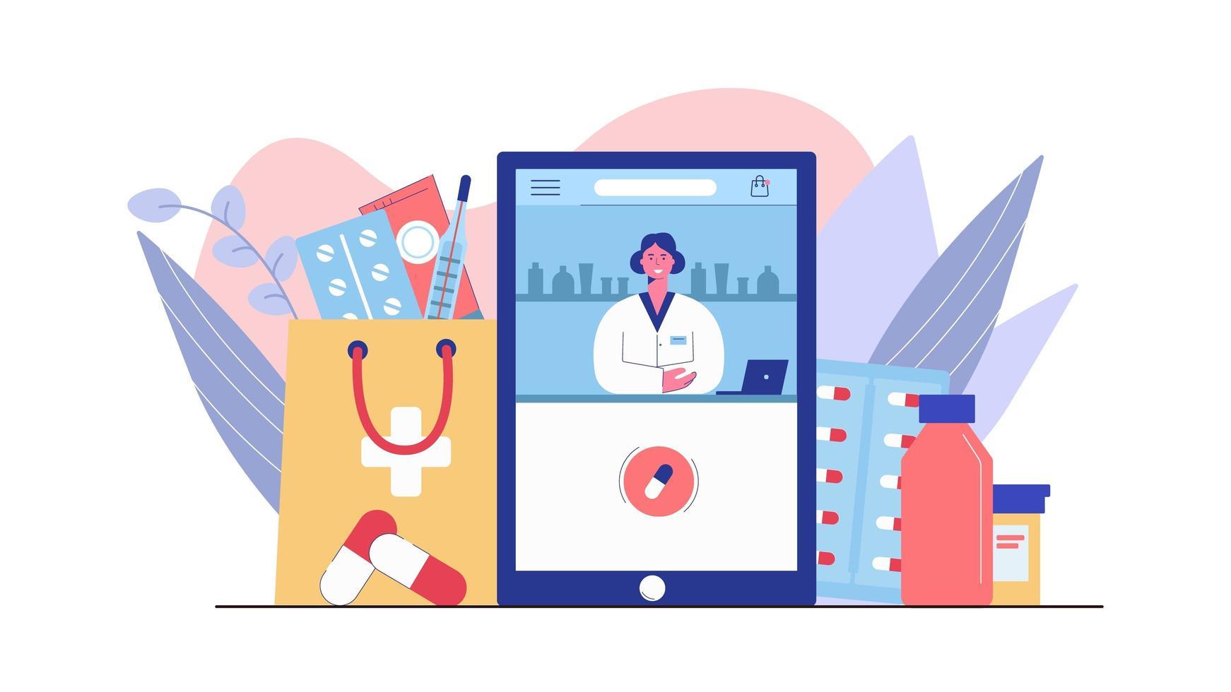 consulta com farmacêutico feminino vetor