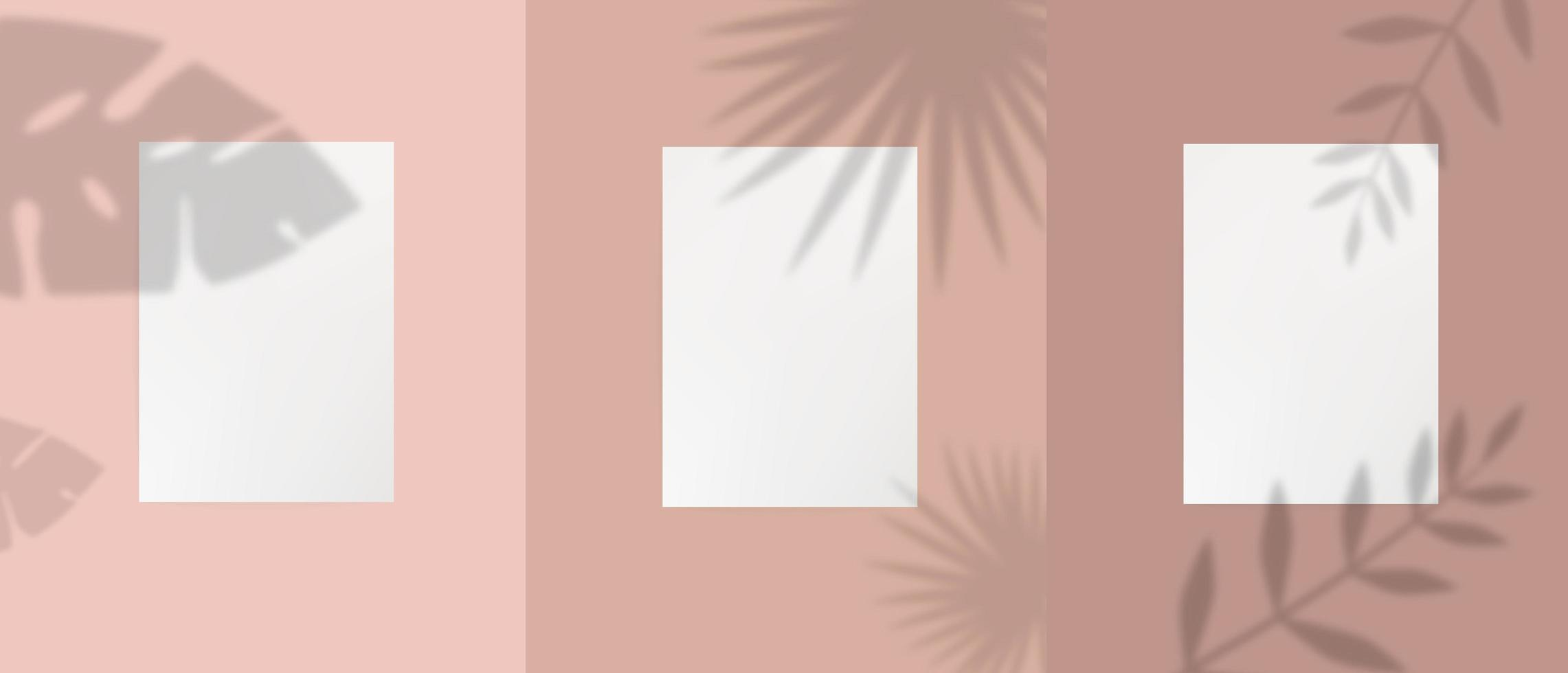 Set of white a4 paper template with plants  vector