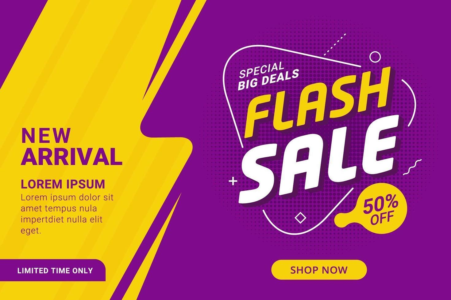 Purple and yellow flash sale discount banner  vector