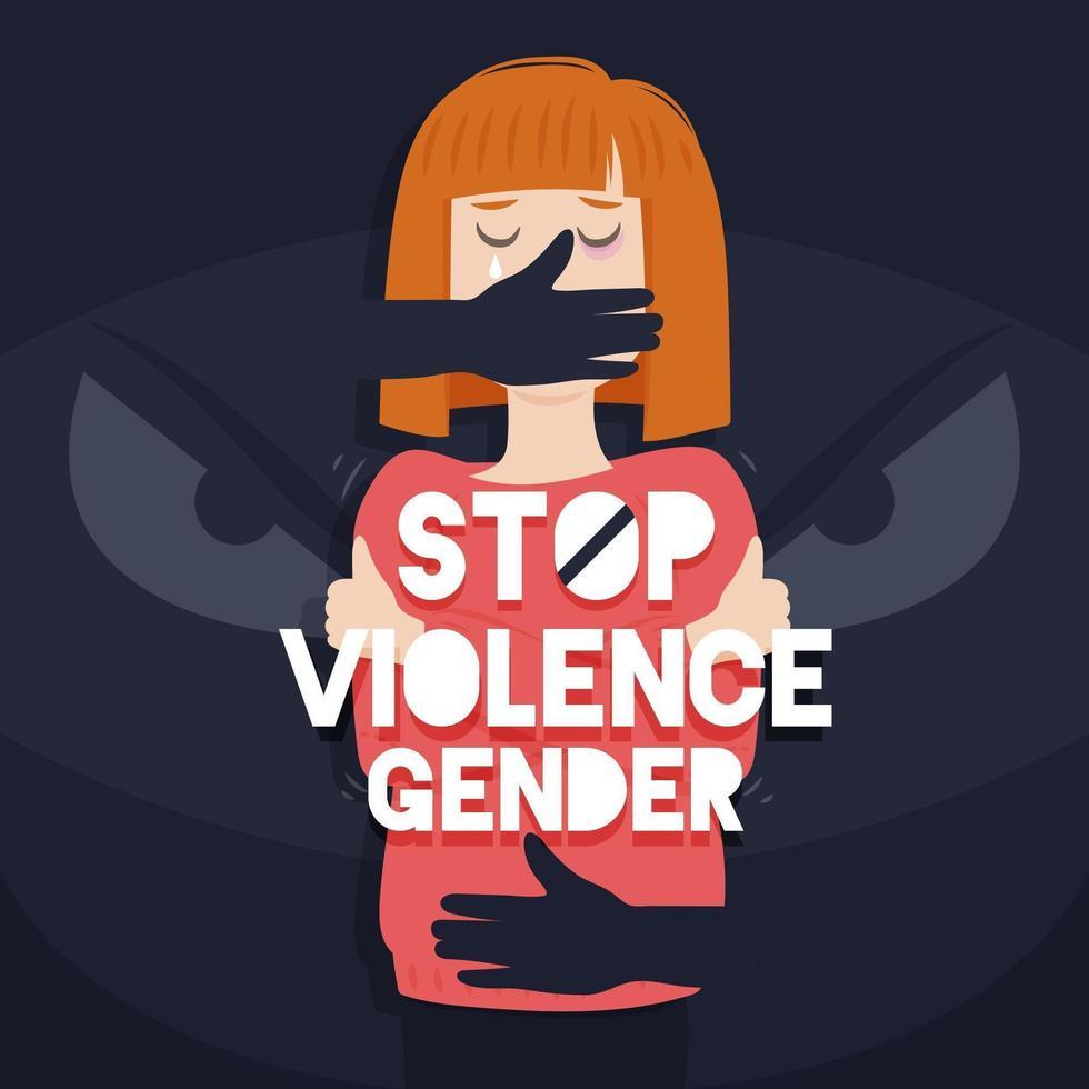 detener la violencia de género con las manos sobre la boca de la mujer vector