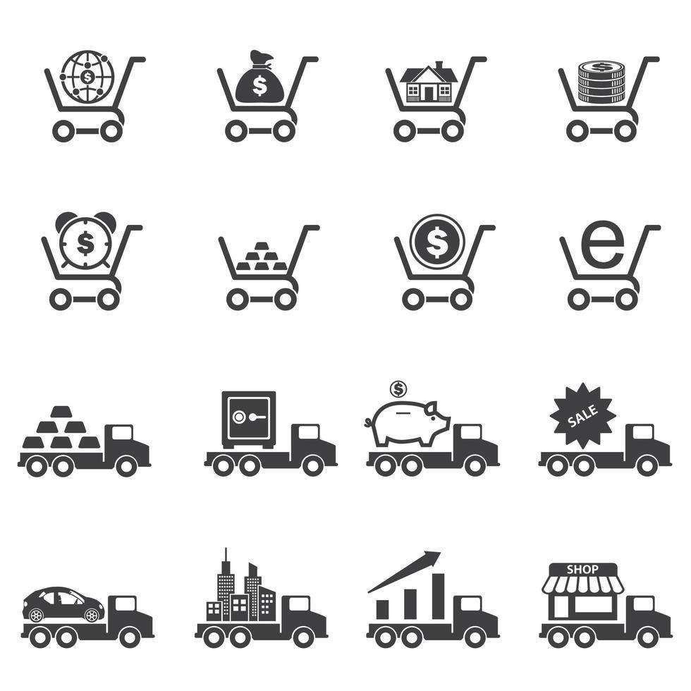iconos de negocios y comercio vector