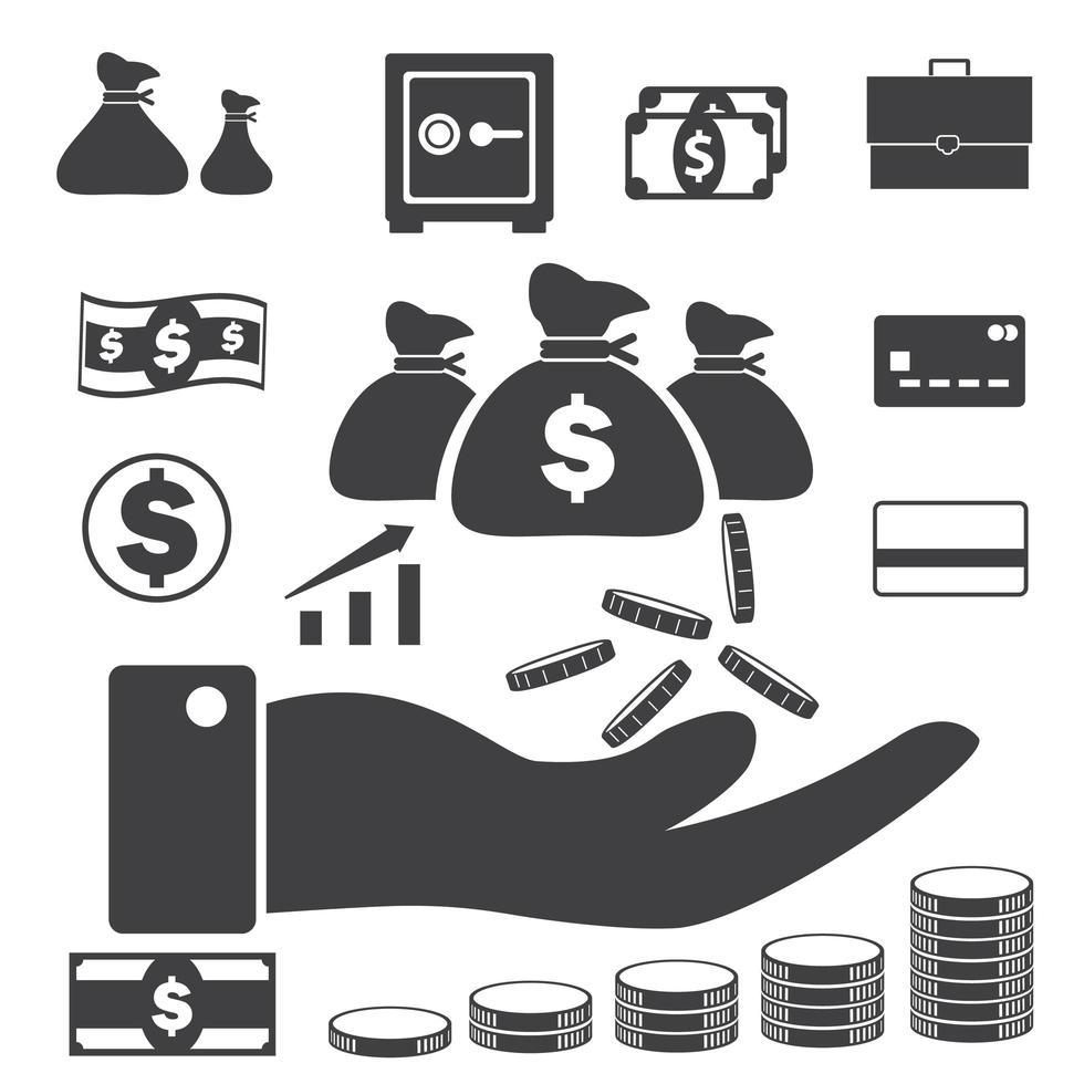 ícones de dinheiro e crédito vetor
