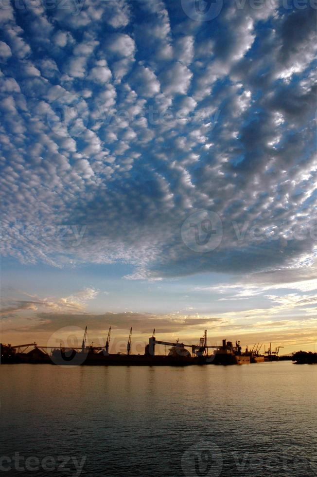 Seaport and Sky At Sunset photo