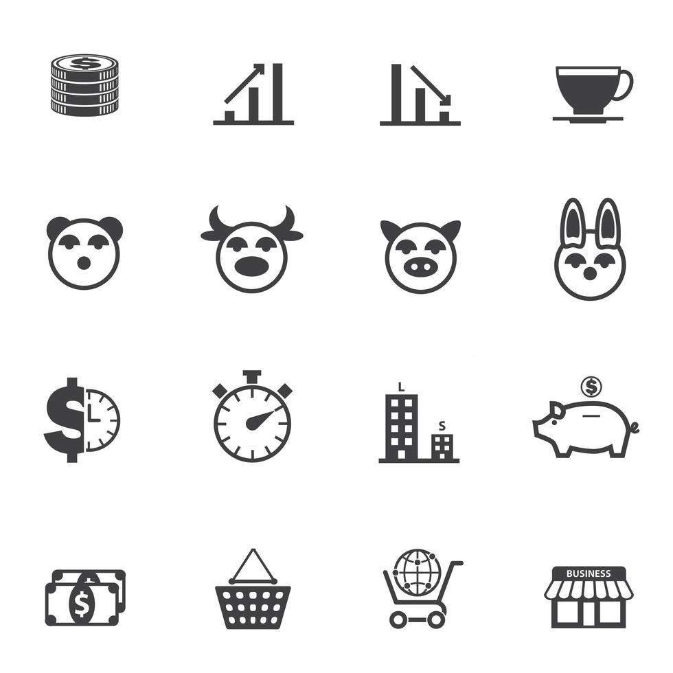 conjunto de iconos de negocios y economía vector