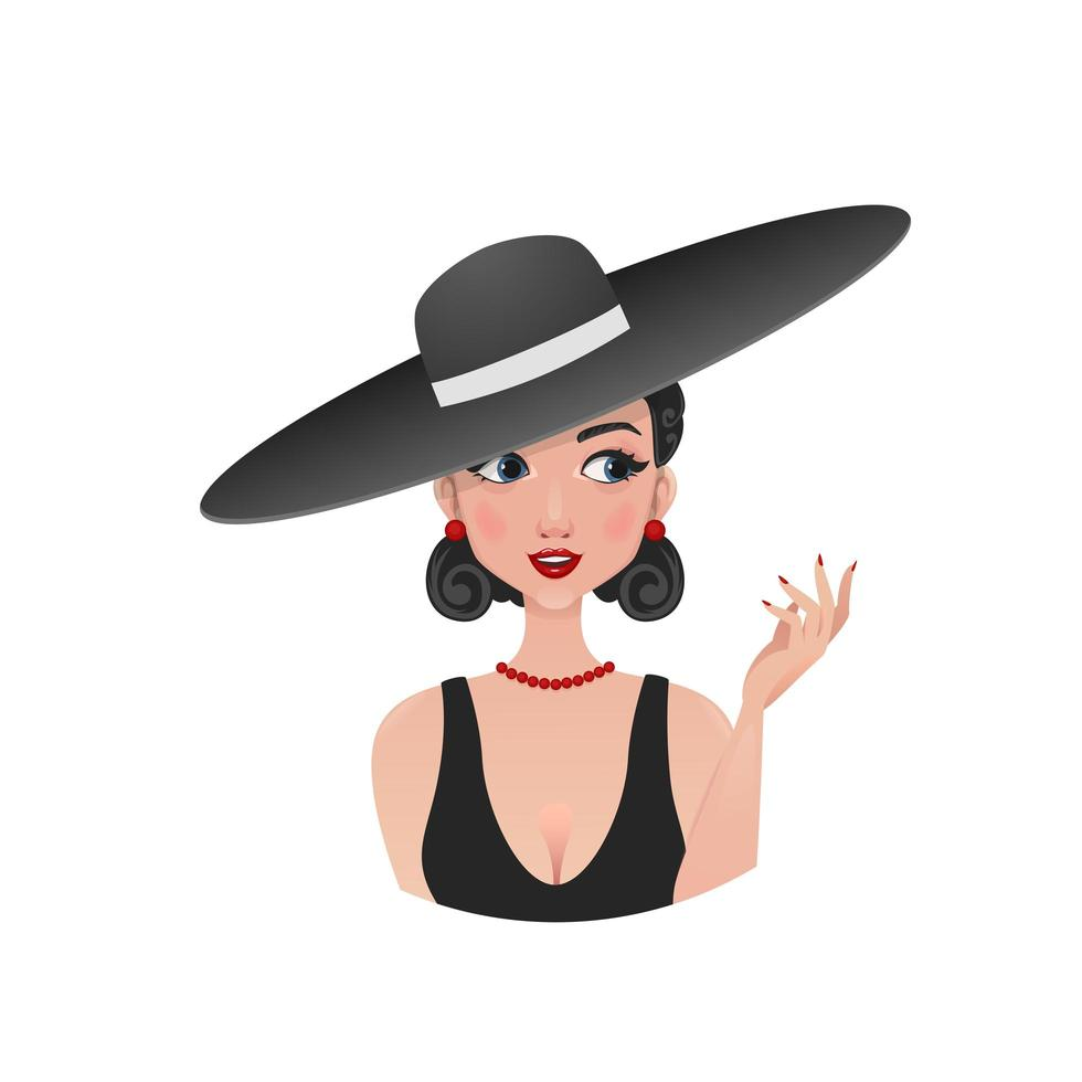 Retro girl in a black straw hat vector