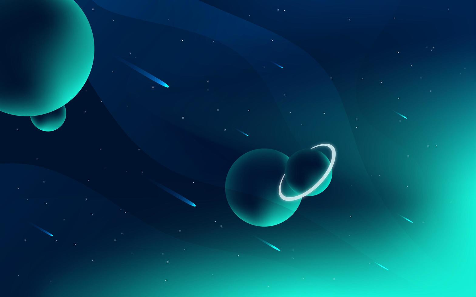 Bright space and planets design vector