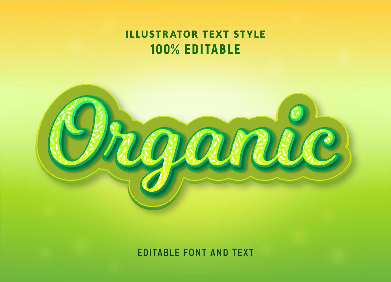 Organic green sprinkle pattern etditable text vector
