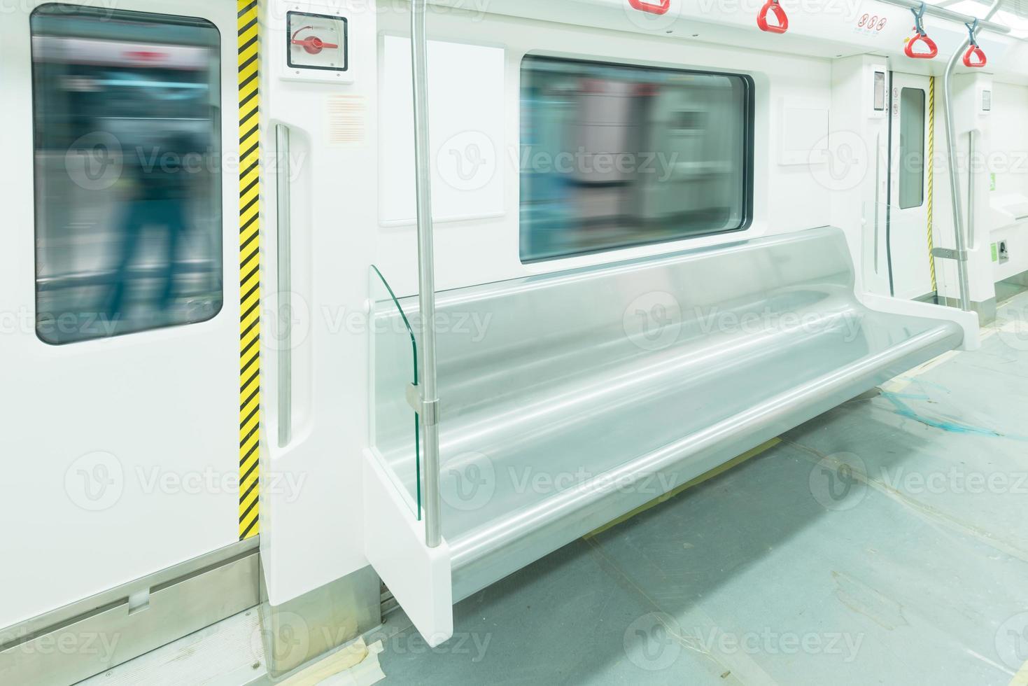 Interior view of a subway car photo