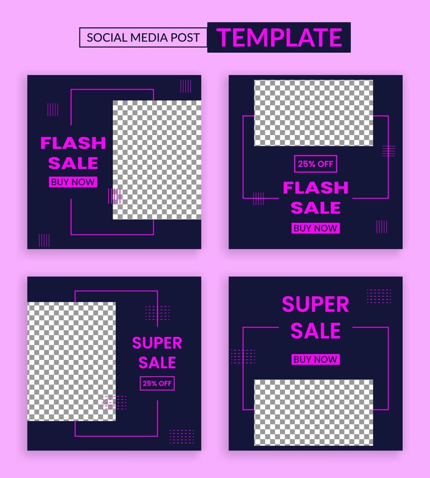 Flash sale social media instagram post template vector