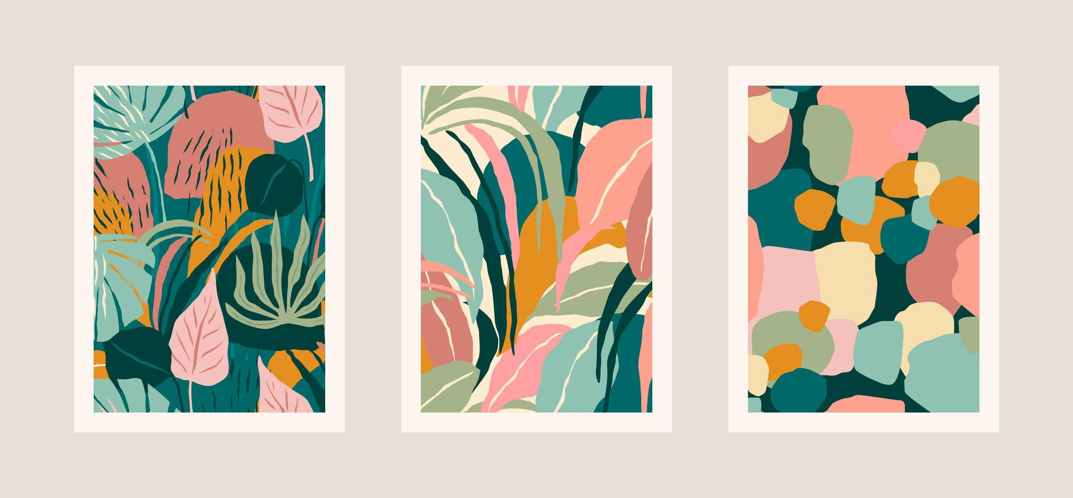 Collection of art prints with abstract leaves. Modern design vector