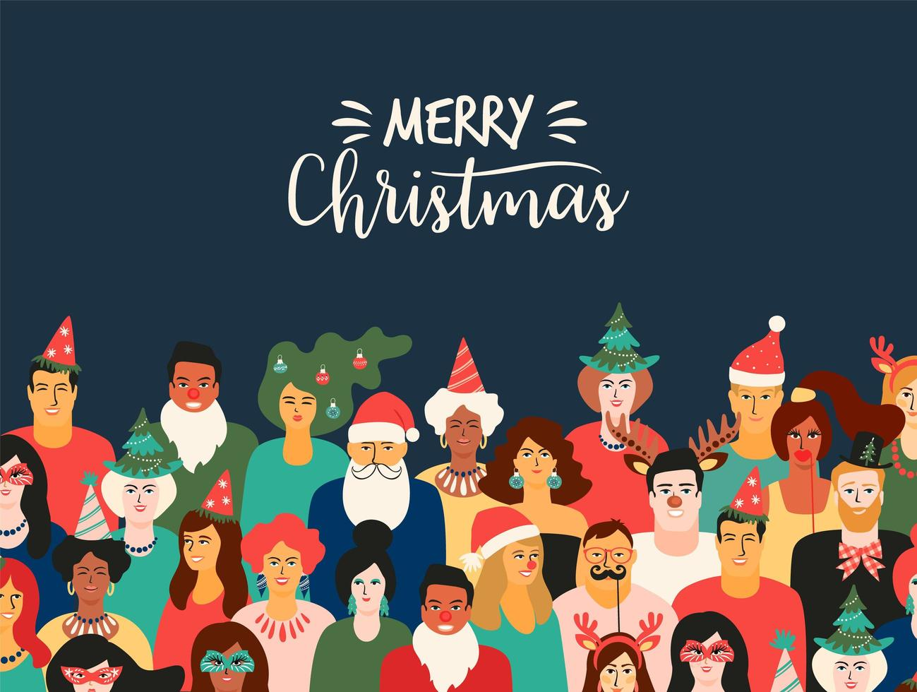 Christmas and Happy New Year illustration with funny people. vector