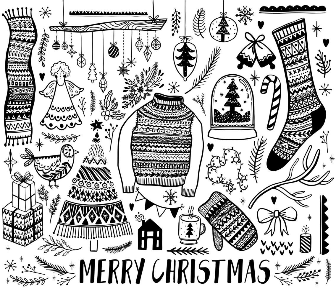 Set of Black and White Christmas Design Elements  vector