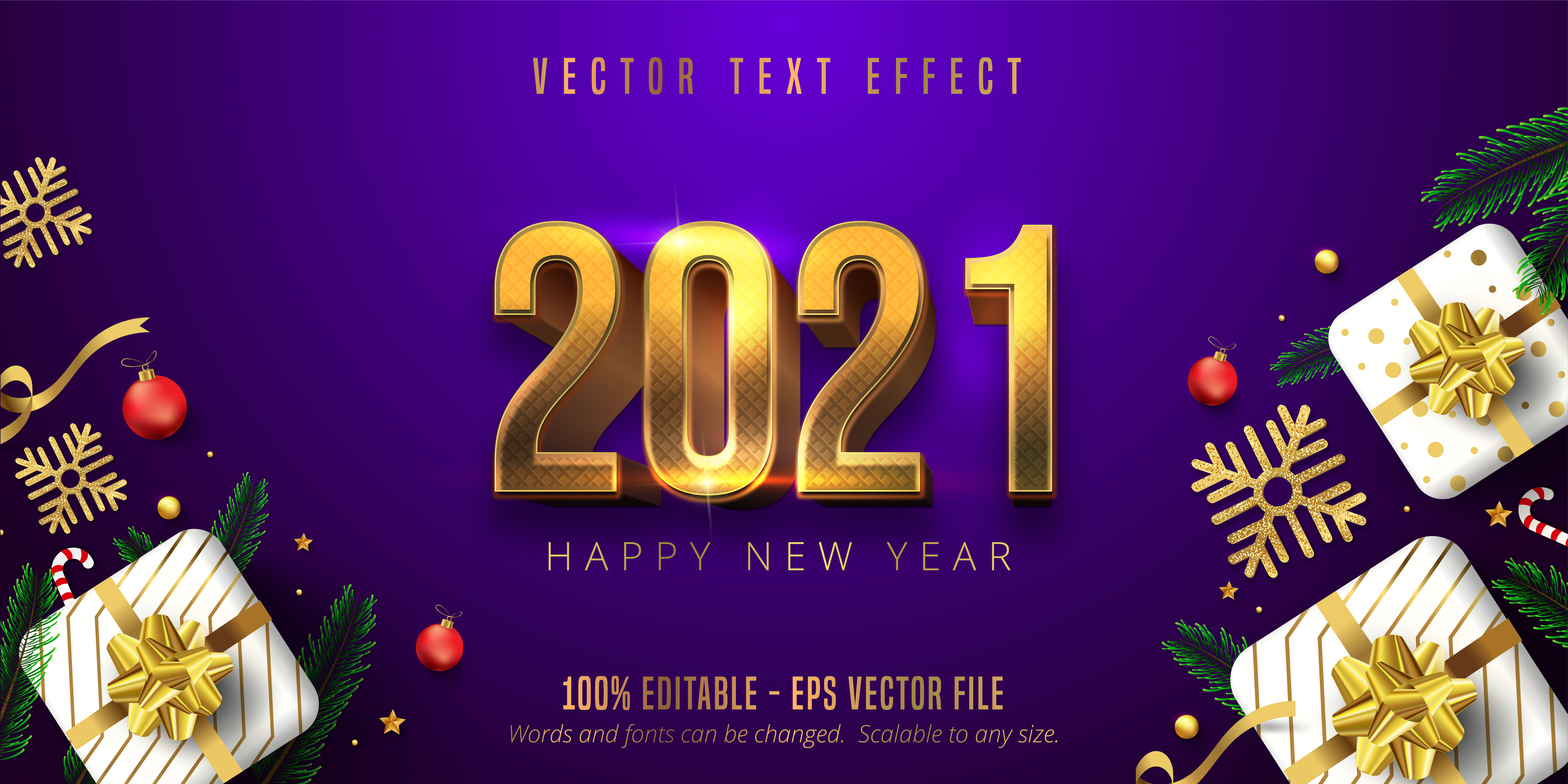 2021 Happy New Year Font Effect - Download Free Vectors ...