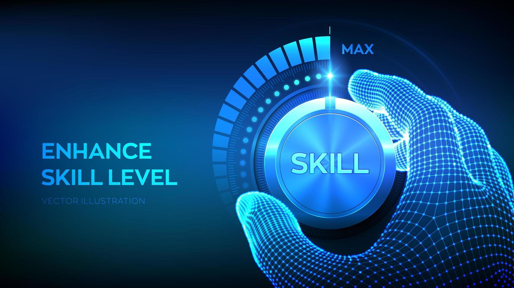 Skill levels knob button vector
