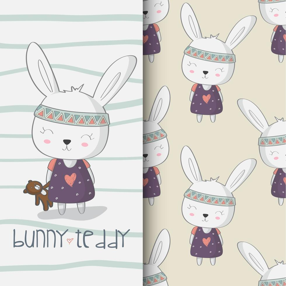 Bunny and teddy bear  vector