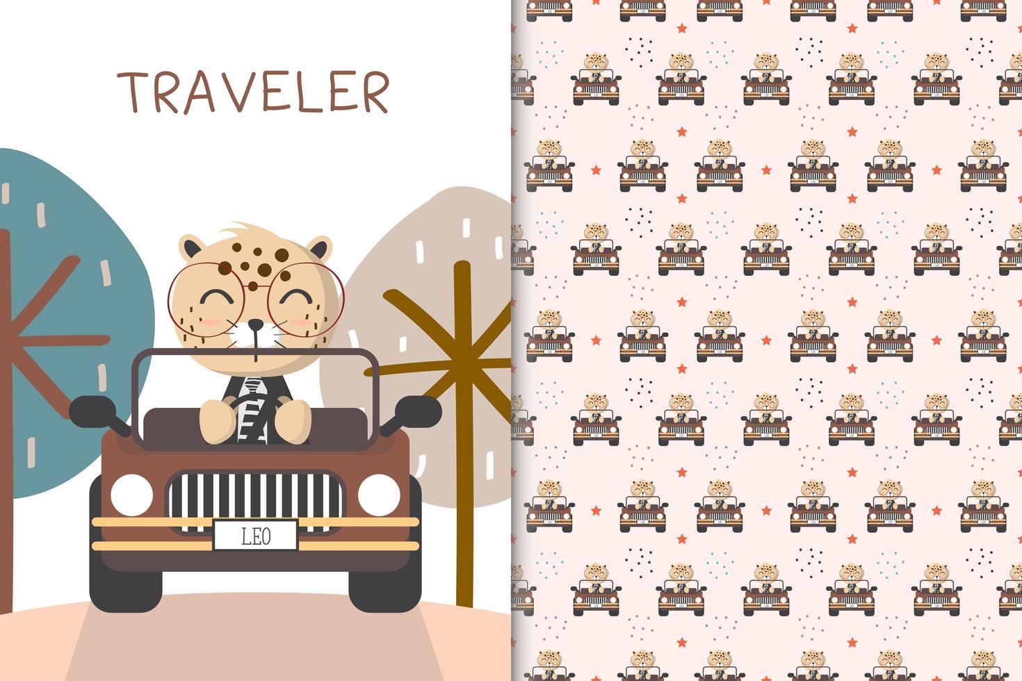 Traveler leopard driving  vector