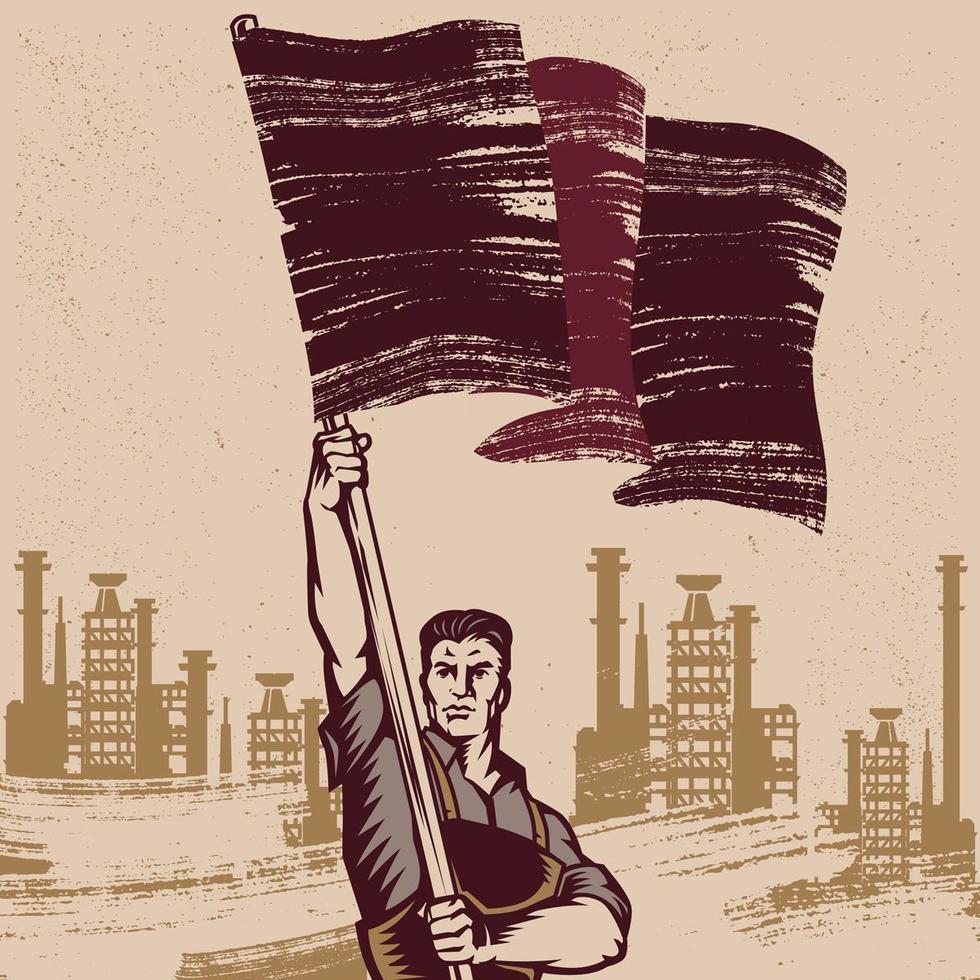 homem acenando bandeira revolucionária vetor