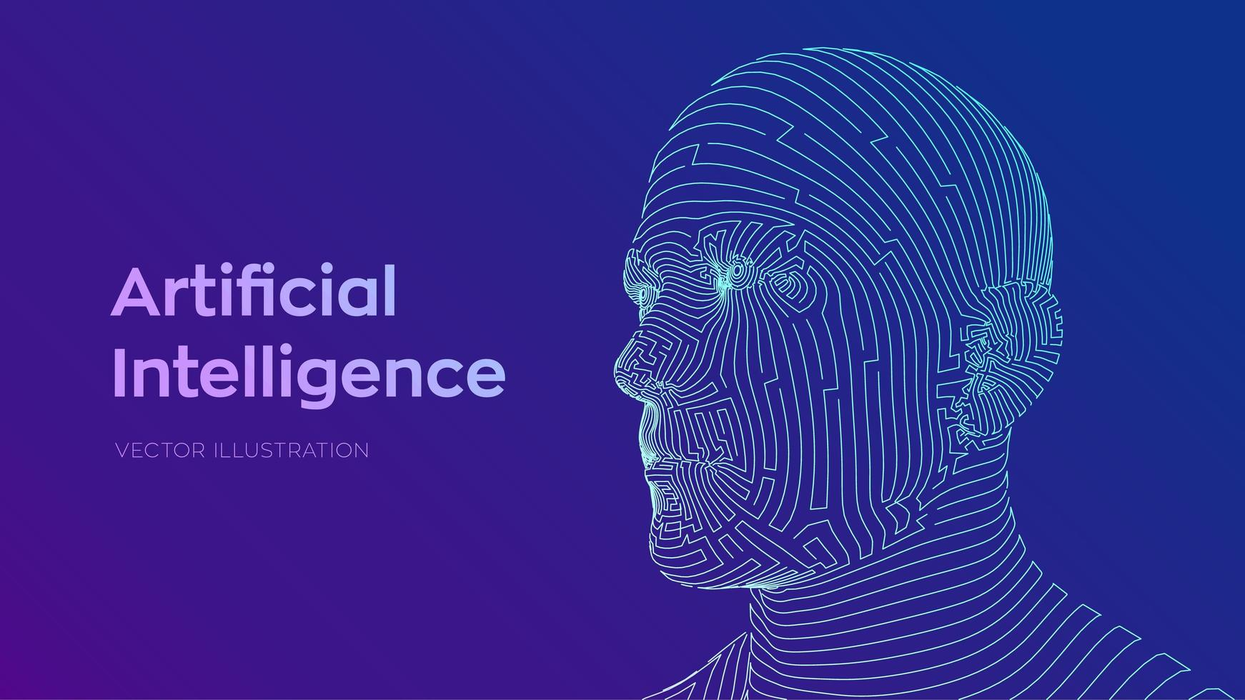 Abstract digital human face vector