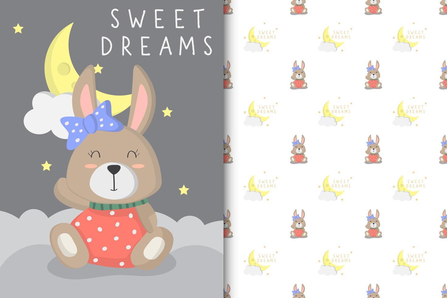 Sweet dreams baby bunny  vector