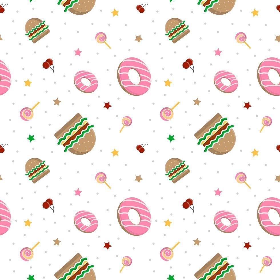 padrão de hambúrguer e donuts vetor