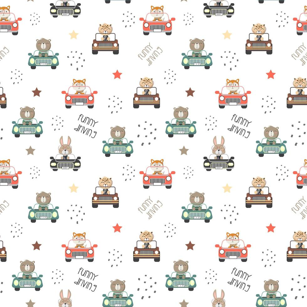 Pattern of cute animals driving a cars vector