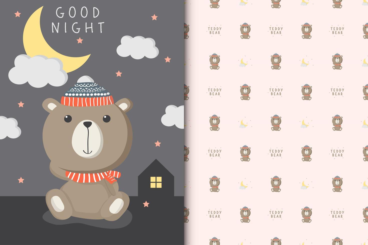 Goodnight Teddy Bear vector