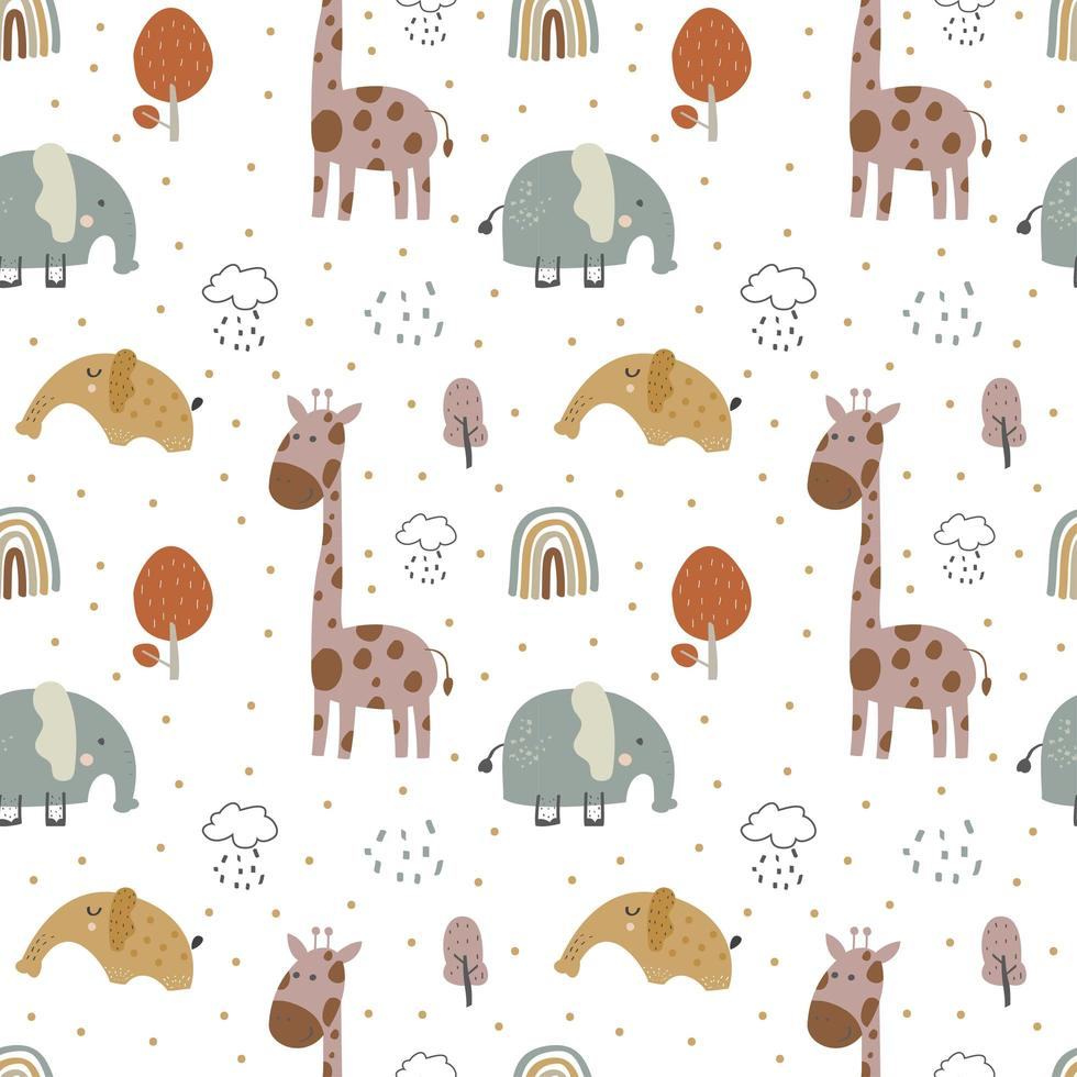 bebê girafa e elefante vetor