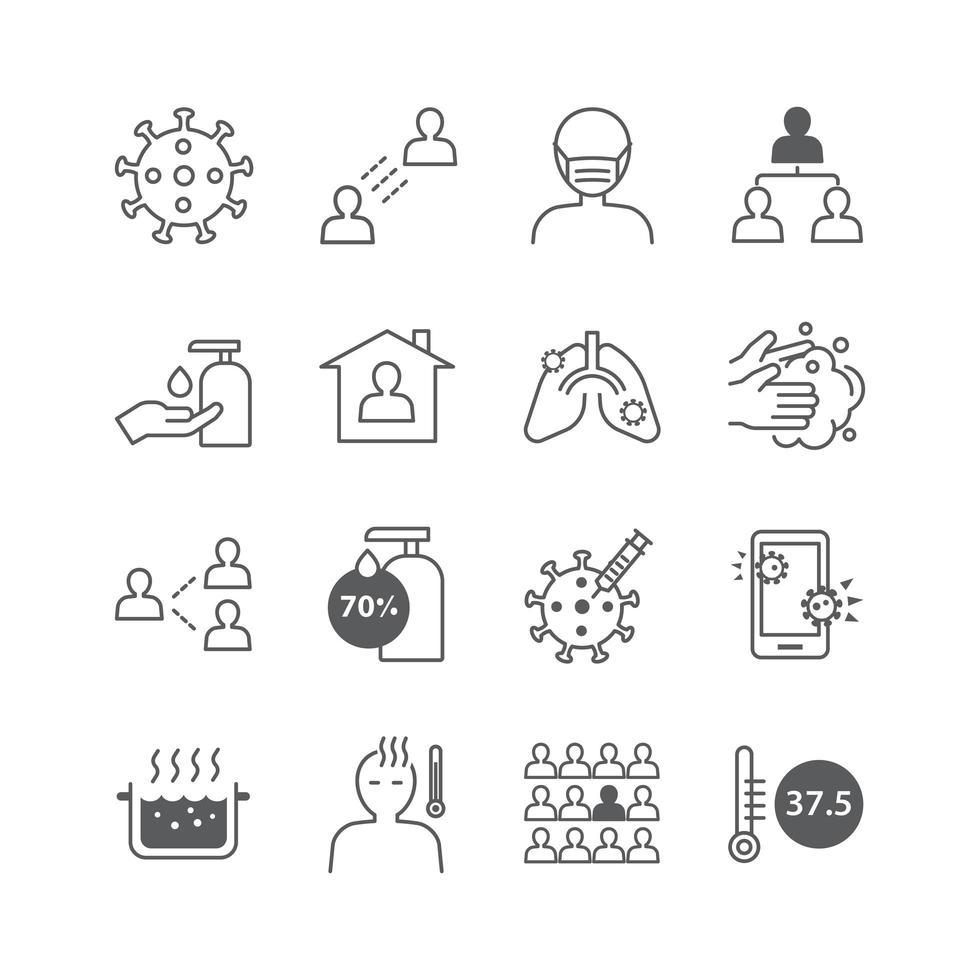 Coronavirus icons set vector