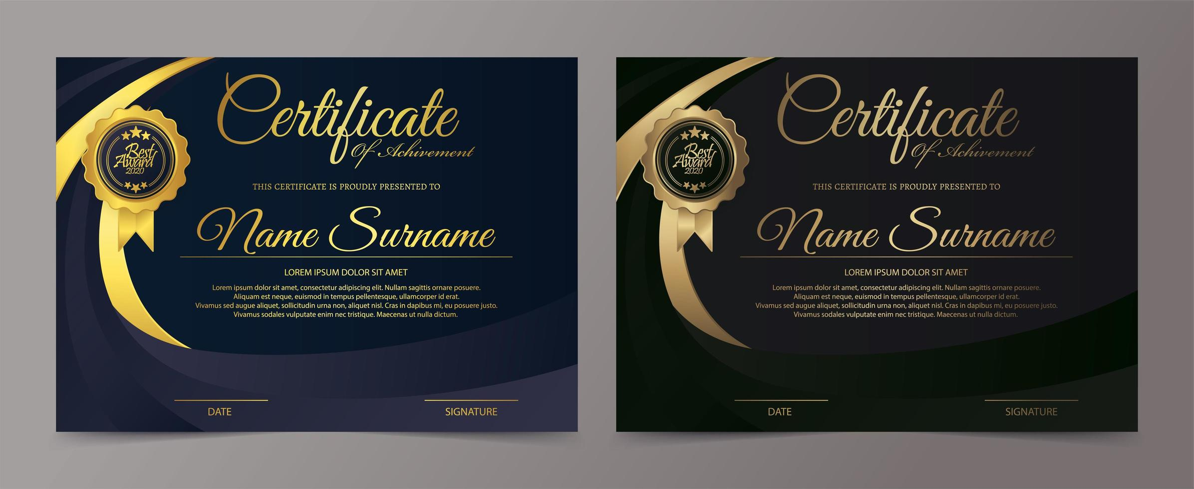 conjunto de modelo de certificado preto e dourado vetor
