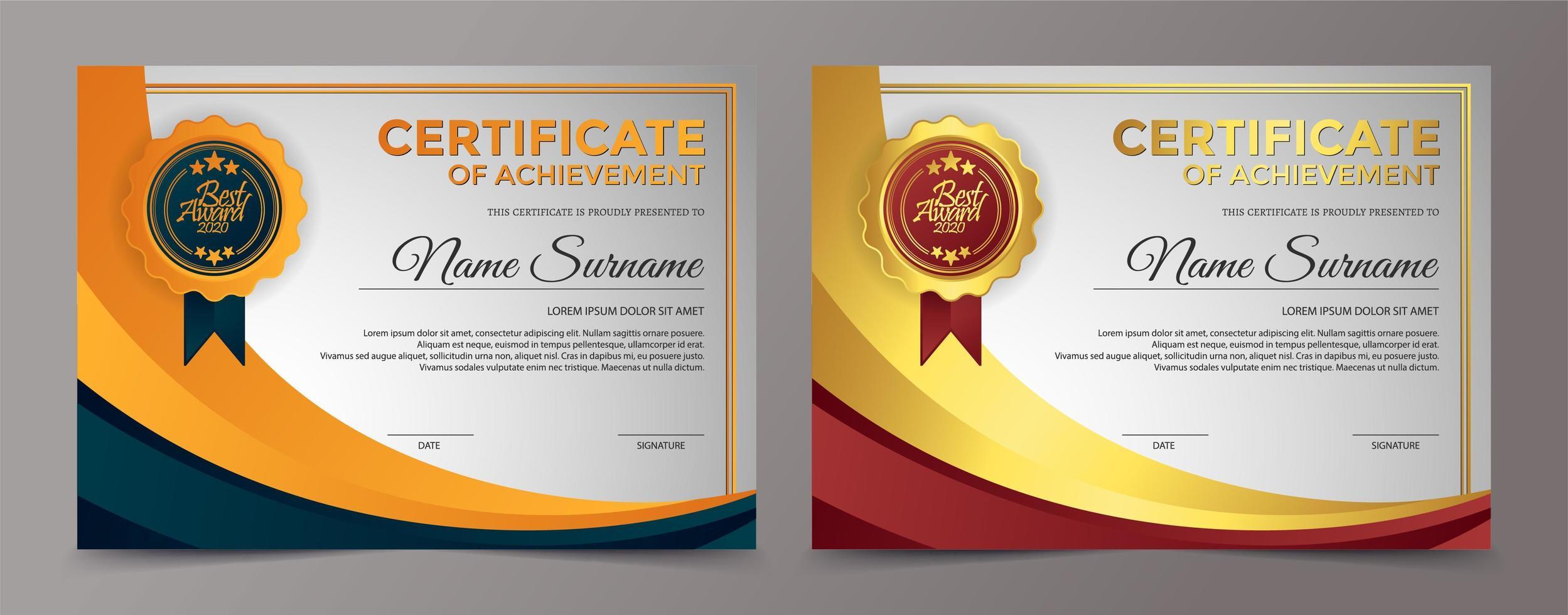 conjunto de modelo de certificado de prêmio colorido vetor