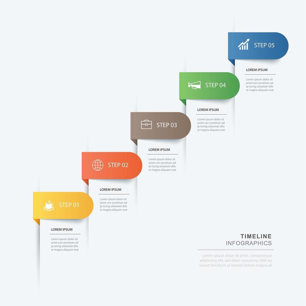 Infografía de 5 pasos de datos con esquinas redondeadas vector
