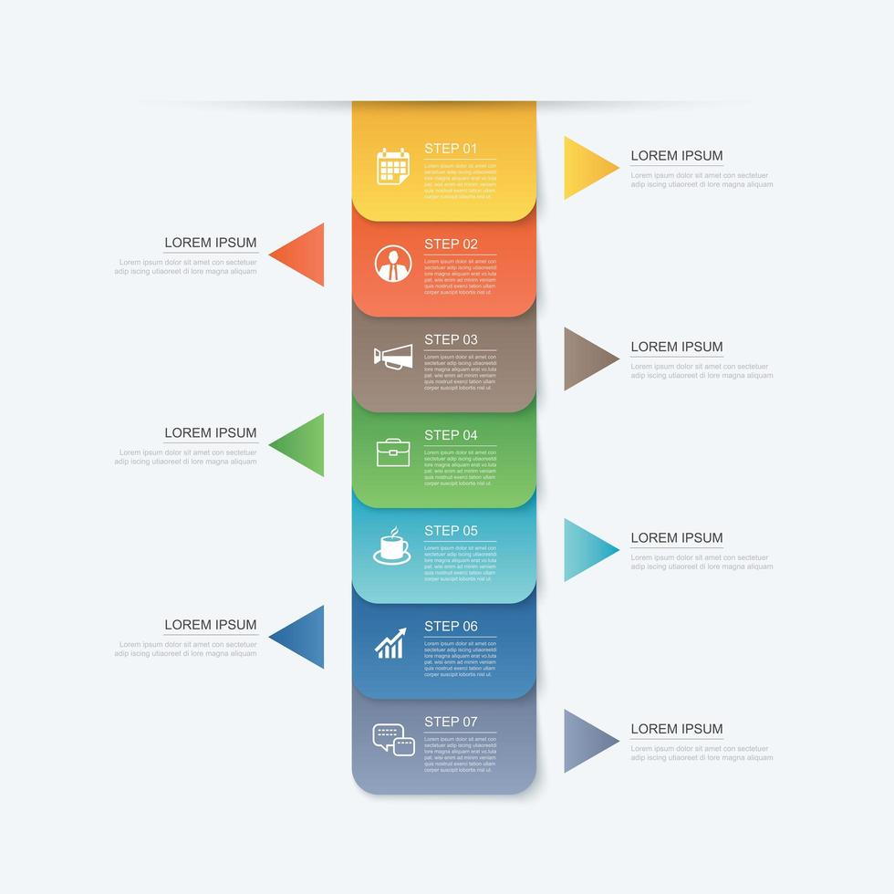 7 data step infographics timeline vector