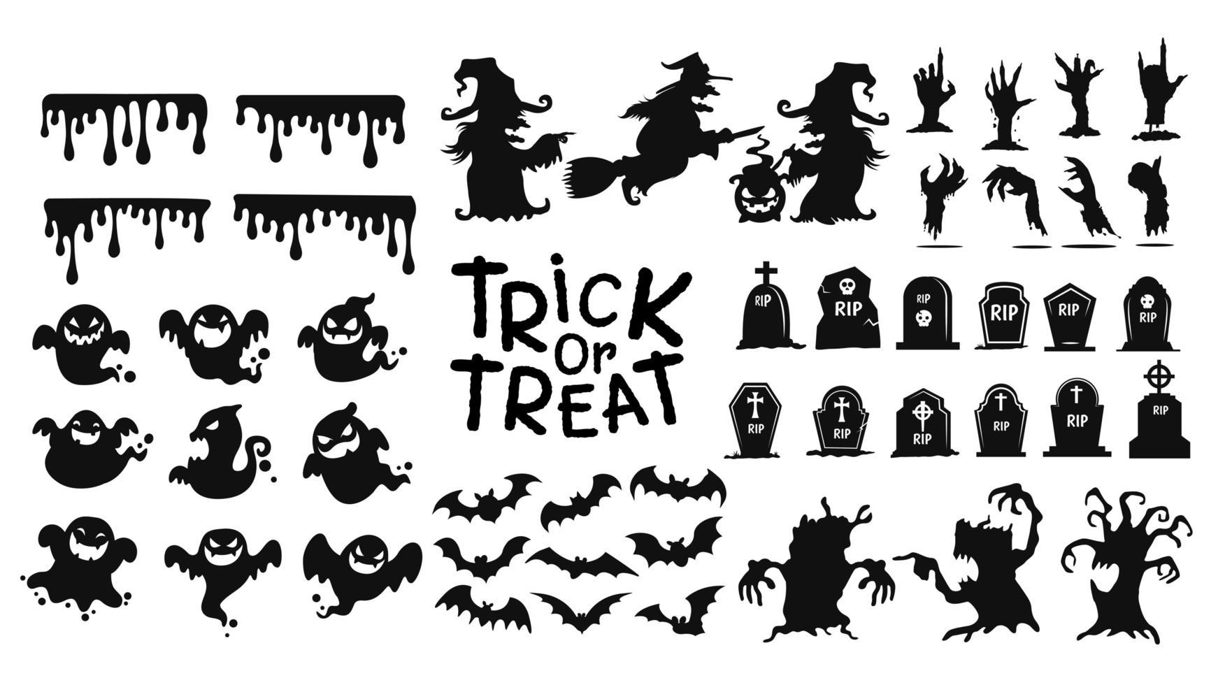 ícones de doces ou travessuras de halloween vetor