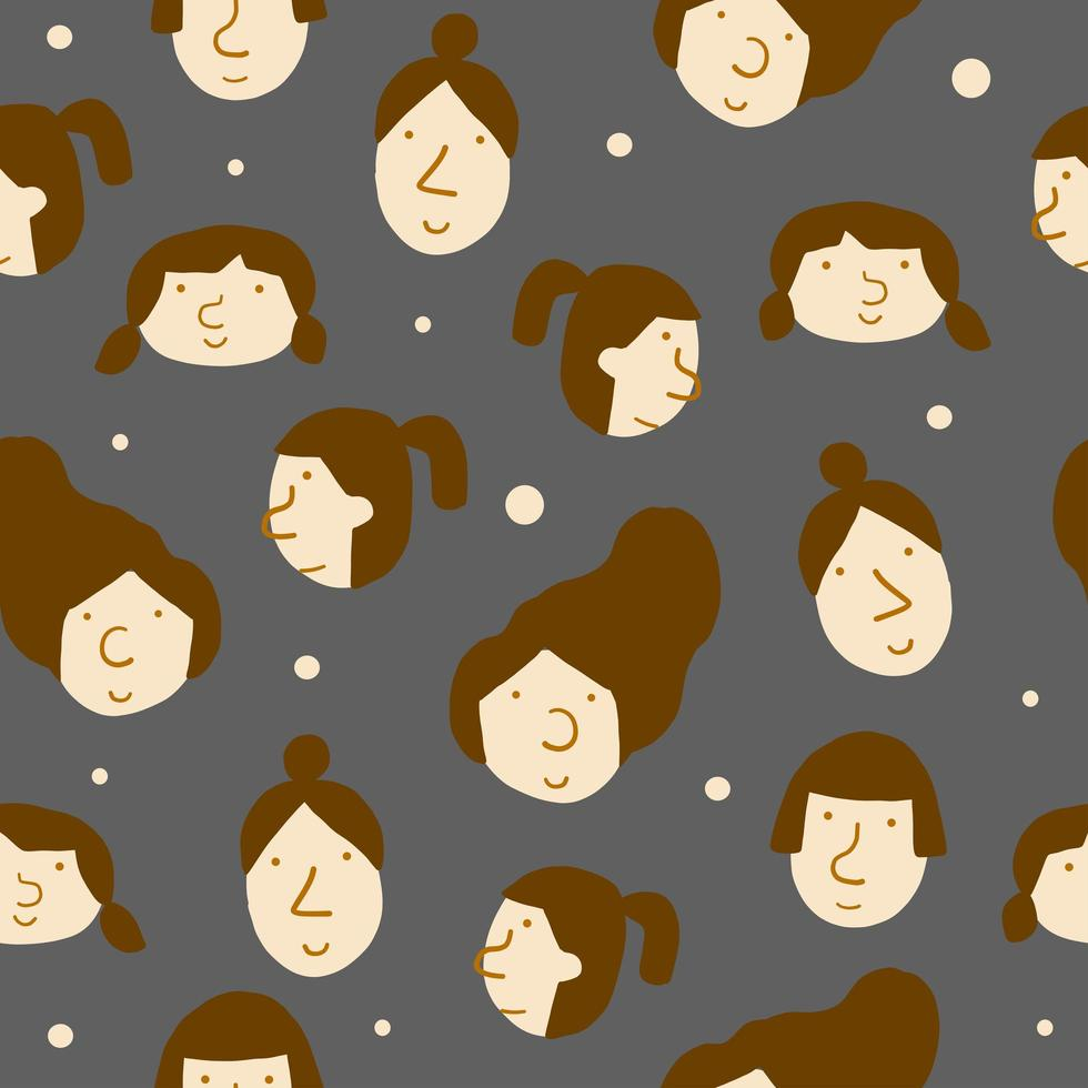 Flat Design Background with Women's Faces  vector