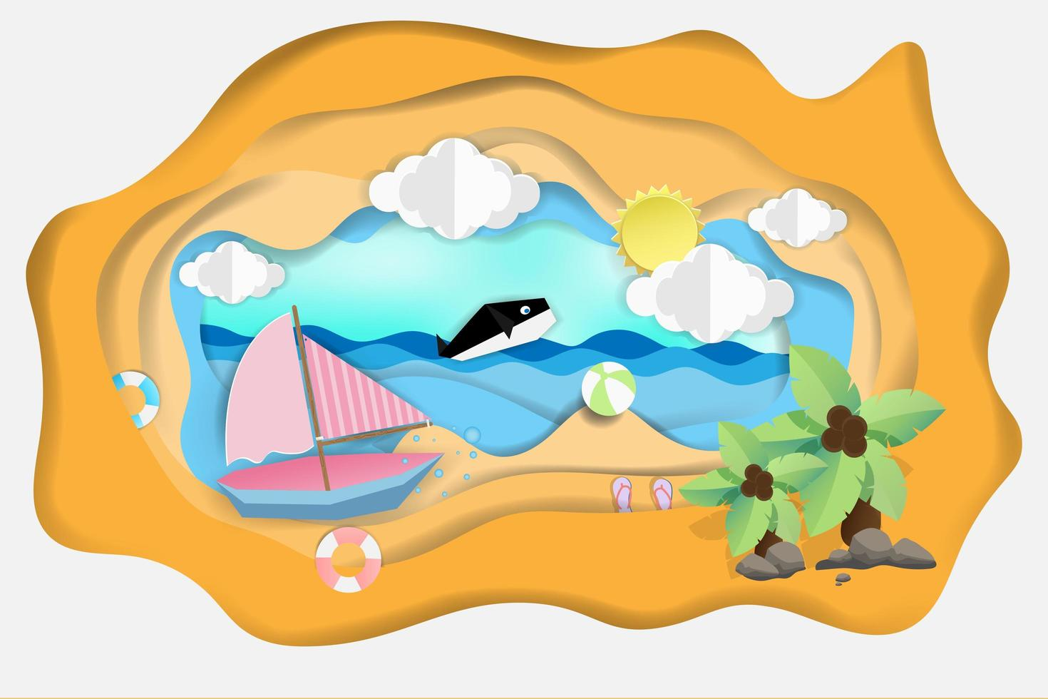 Boat floating on the sea with dolphin vector