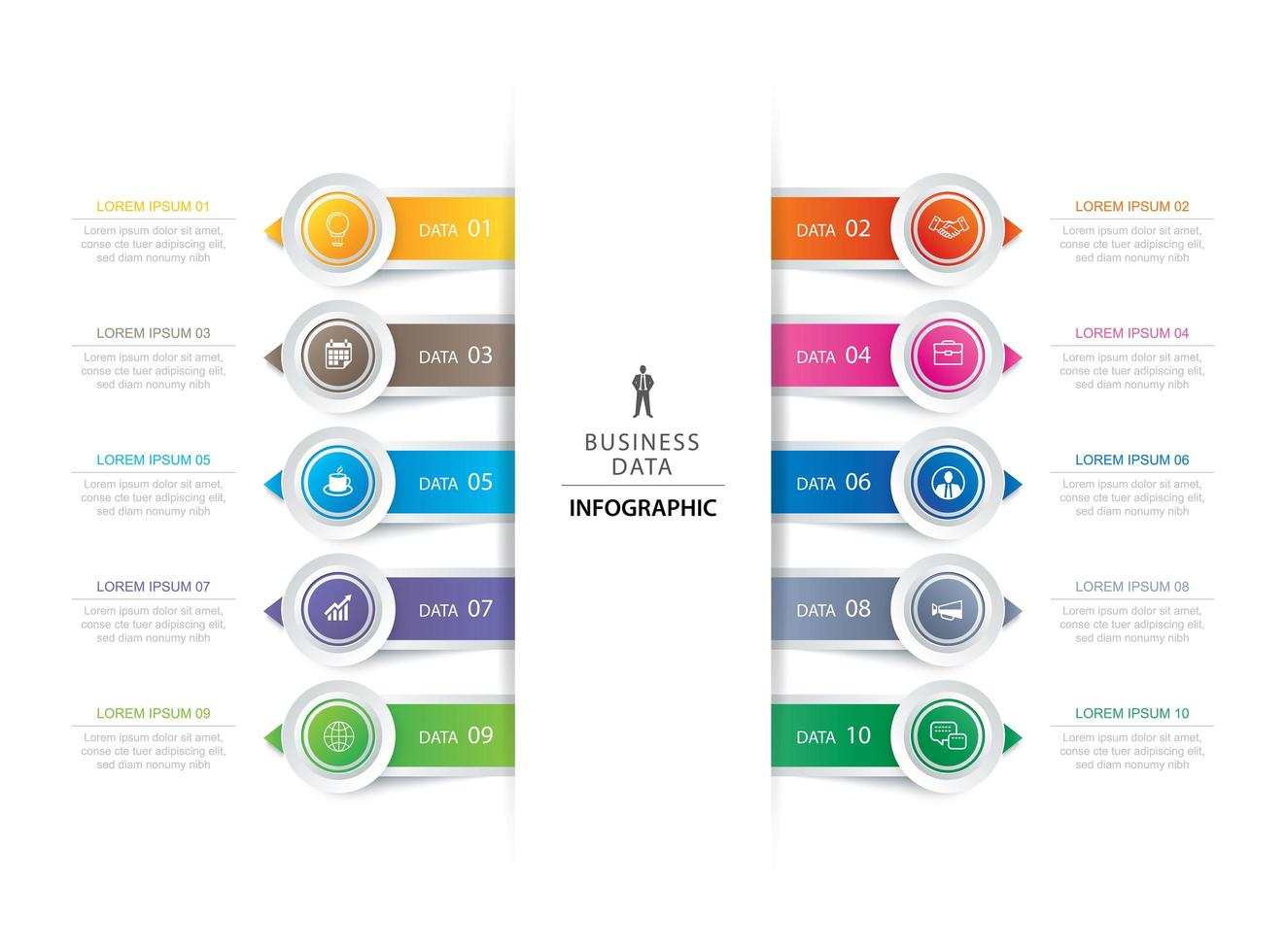 10 circle tab step infographic  vector