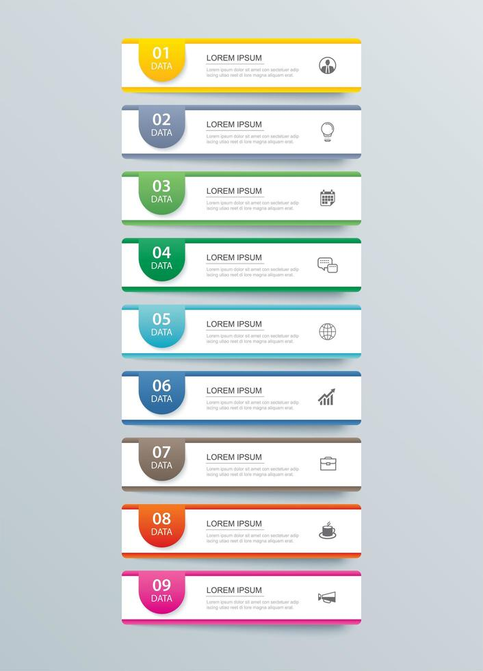 9 pasos de infografías de datos vector