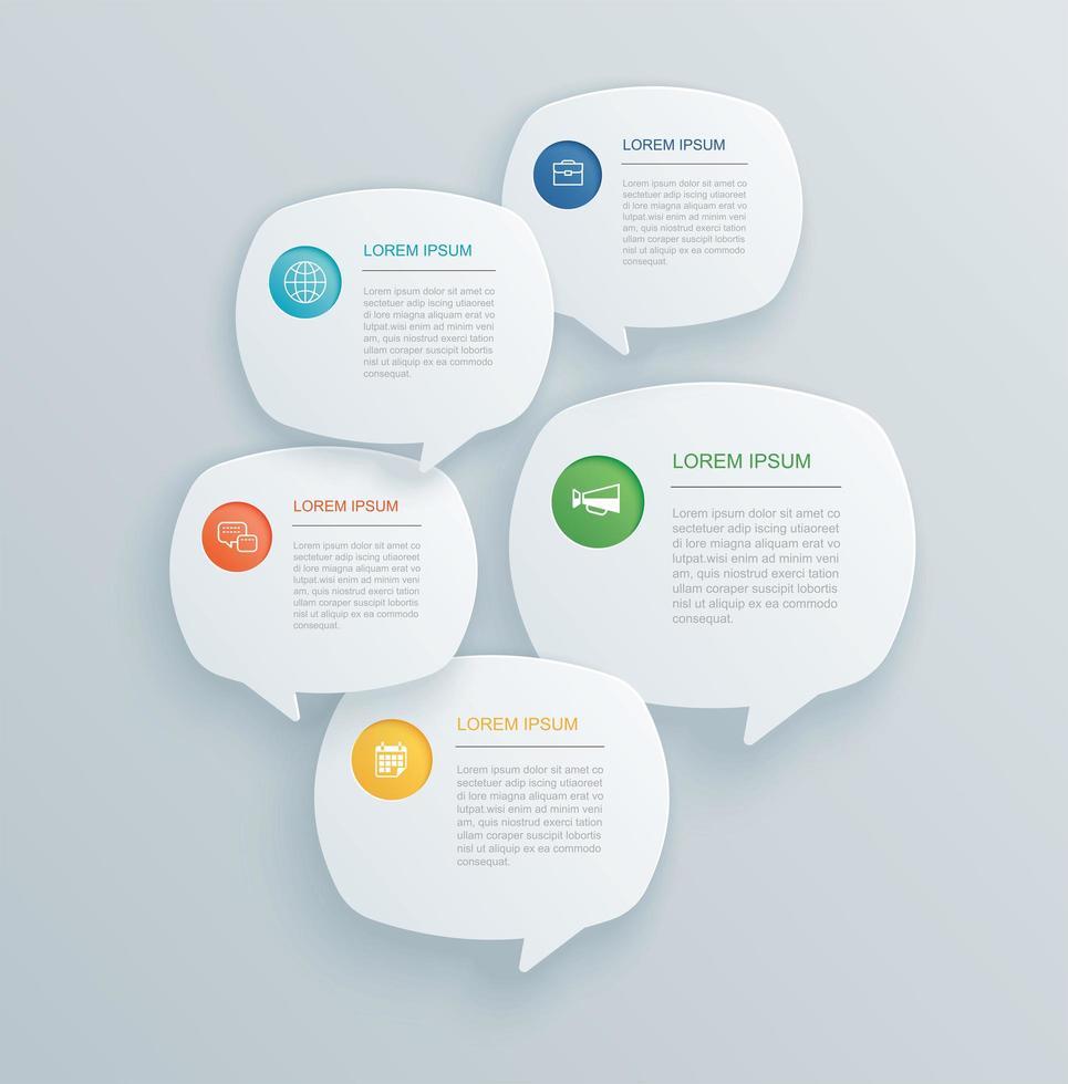 infográficos com bolha do discurso vetor