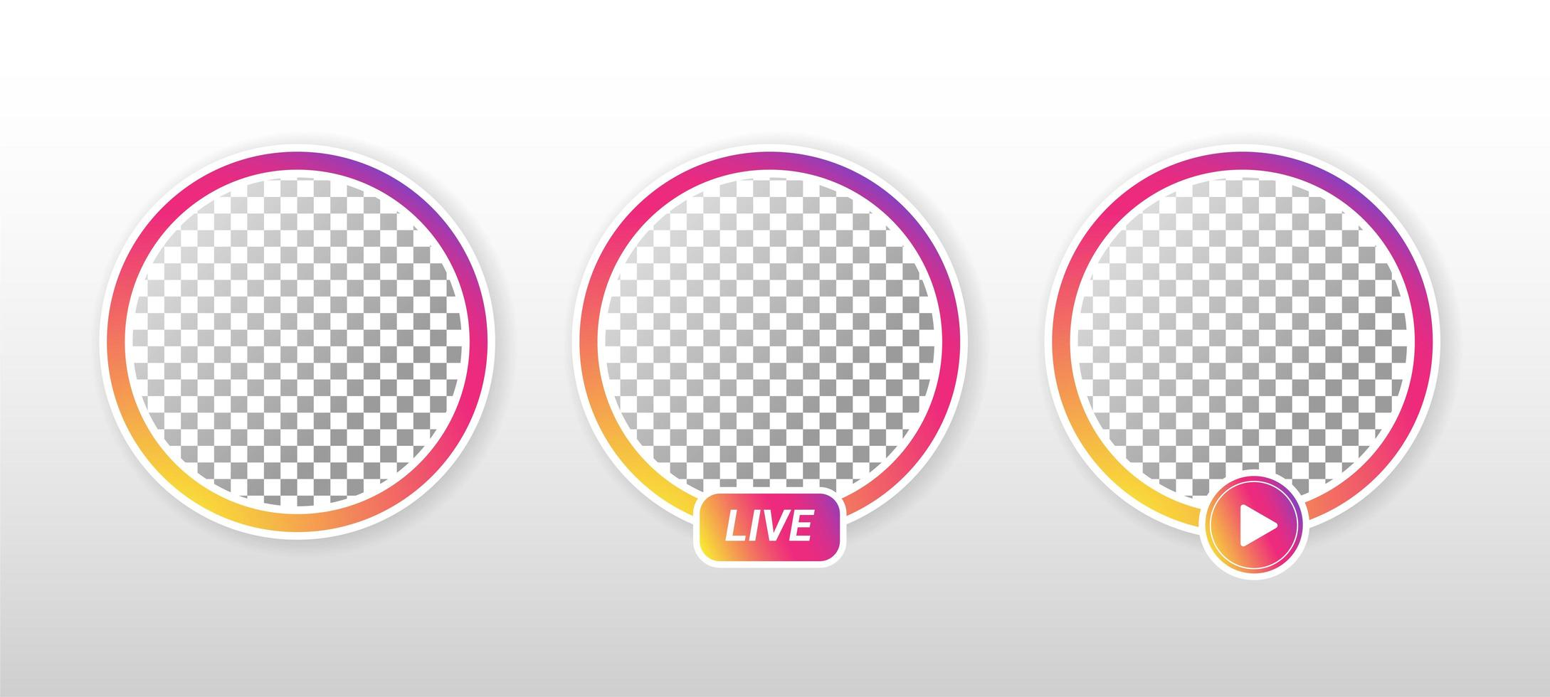 círculo gradiente ao vivo nas mídias sociais. vetor