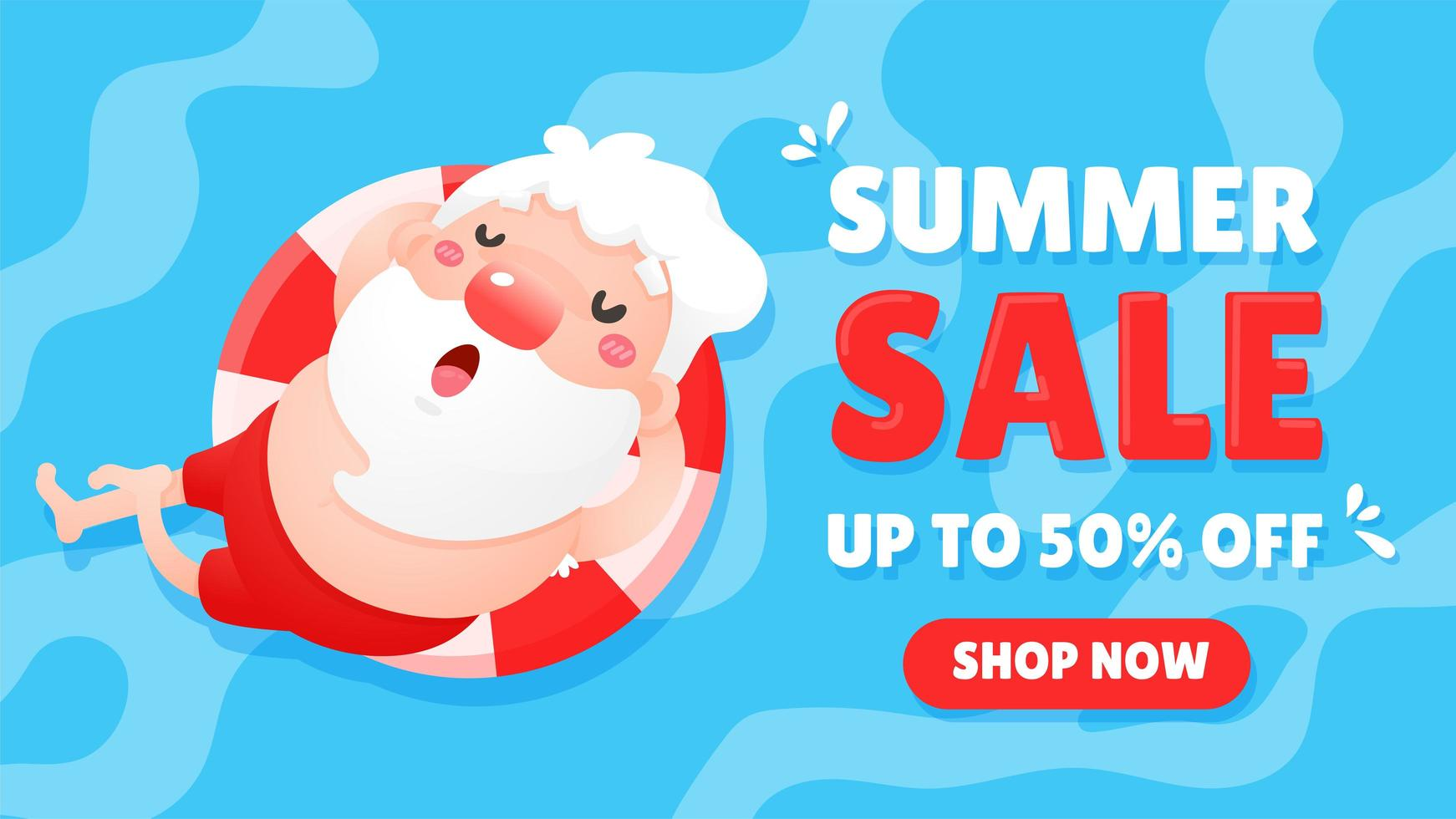 Summer Sale with Santa Clause  vector